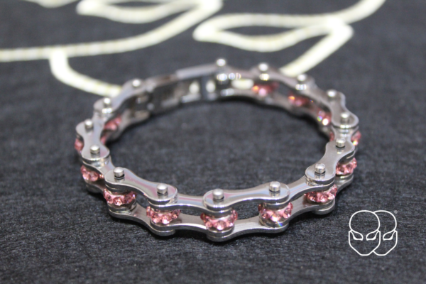 Silver color chain bracelet with pink glitter