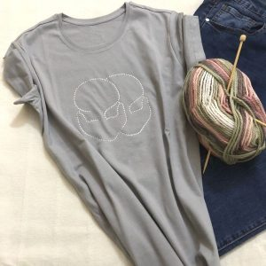 Grey T-shirt for woman with glitterGrey T-shirt for woman with glitter